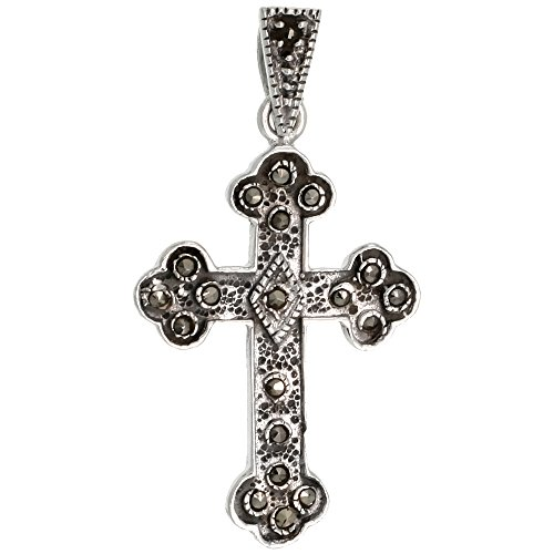 (Sterling Silver Marcasite Budded Cross Pendant, 1 3/8 inch (35 mm) tall)