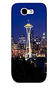 Galaxy Note 2 Case - Tpu Case Protective For Galaxy Note 2- Seattle At Dusk Case For Thanksgiving's Gift