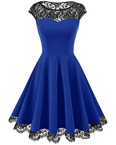 Homrain Women's Vintage 1950s Floral Lace Scoop Neck Cap Sleeve Cocktail Party Dress Royal Blue L