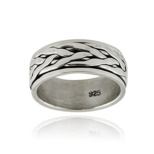 Basketweave Band Ring - Sterling Silver Interwoven Braid Spinning Band Ring, Sizes 7-12 Unisex (8)