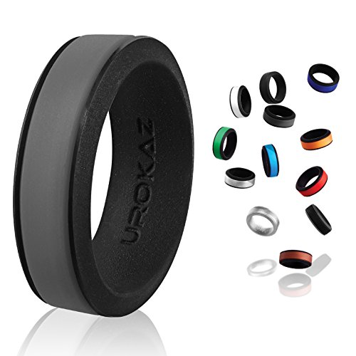UROKAZ Silicone Wedding Band Mens 10 Gun Medal camo Custom Customized Personalized qalo Bands for Men Camouflage Rings Plastic Ring 13 14
