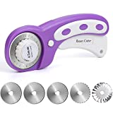 L-Silite Updated Version 45mm Rotary Cutter Tool (6 Replacement Blades), Convenient to Change Blade, for Quilting Fabric and Arts & Crafts, Paper, Leather (Purple)