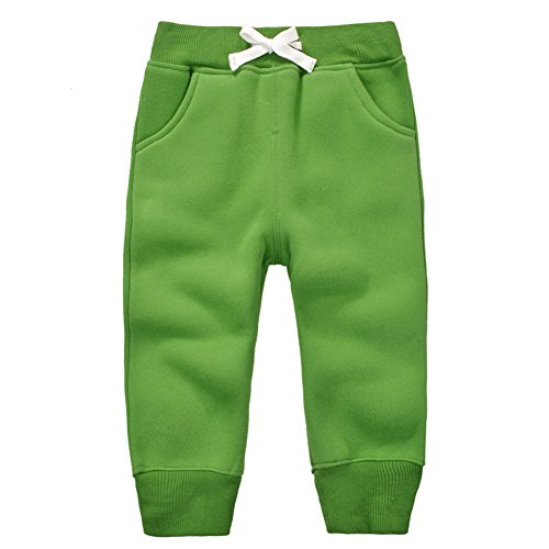 CuteOn Unisex Toddler Jogger Pants Kids Cotton Elastic Waist Winter Baby Sweatpants Pants 1-5Years Grass Green (Green Sweatpants Kids)
