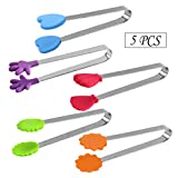 Newbested 5 PCS 5 inch Mini Silicone Tongs,Ice Tongs,Food Tongs Sugar Tongs,Best Kitchen Gadgets
