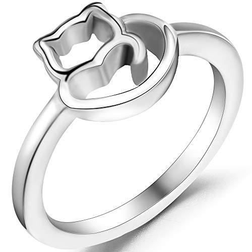Jude Jewelers Stainless Steel Cute Cat Kitty Girl Teen Cocktail Party Birthday Ring (Silver, 7) Cat Stainless Steel Ring