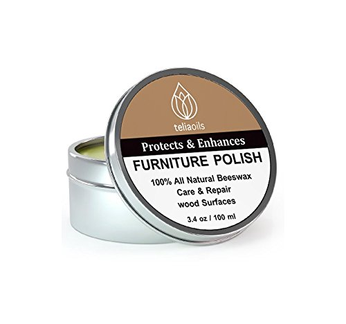 (Beeswax Furniture Polish, 100% natural, for any kind of wood, nourishing, renewing, sealing, covering scratches, protecting from drying out, restoring wood's natural beauty. The best wood wax cream.)