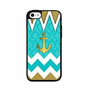 Mint and Gold Chevron With Anchors TPU RUBBER SILICONE Phone Case Back Cover iPhone 5 5s