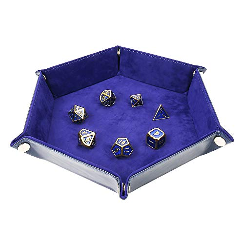 STYLIFING Dice Tray Metal Dice Rolling Tray for RPG DND Table Games, Dice Holder Storage Box, Double Sided Folding Rectangle PU Leather and Velvet (Oxford Blue)