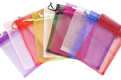 Enriko 4x5.5'' 50/100 pcs Drawstring Organza Pouch Strong Wedding Favor Gift Candy Bag (Mix Color) by Enriko