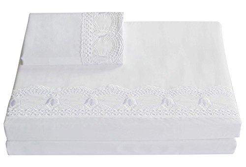 (Lausonhouse Sheet Set,100% Cotton Sateen Embroideried Lace Sheet and Pillowcase Set,Deep Pocket,4 Pieces Bed Set - White- Queen)