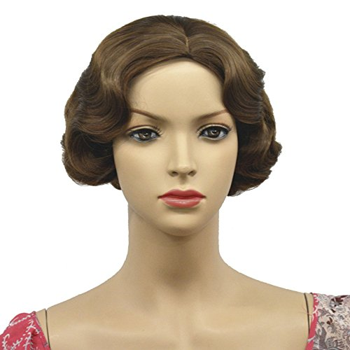 Lydell Vintage Cosplay Party Wig Short Finger Wavy Flapper Hairpiece #12 Lt Reddish golden brown