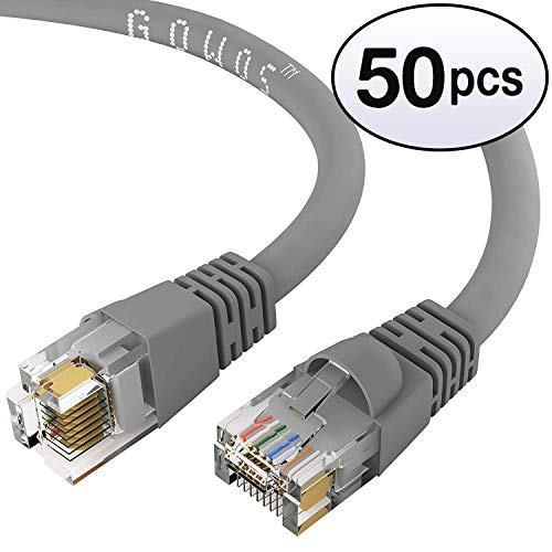 GOWOS Cat5e Ethernet Cable (50-Pack - 50 Feet) Gray - 24AWG Network Cable with Gold Plated RJ45 Snagless/Molded/Booted Connector - 1Gigabit/Sec High Speed LAN Internet/Patch Cable - 350MHz