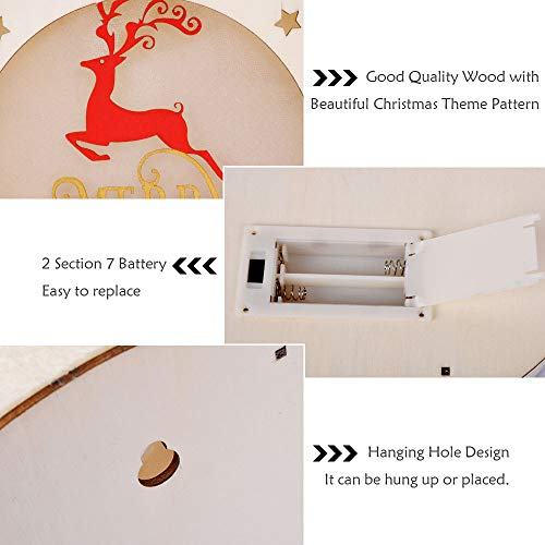 eZAKKA Christmas Reindeer Nightlight Desk Kids Bedroom Decoration Lamp Colorful Santa Wooden Decor by eZAKKA (Image #2)