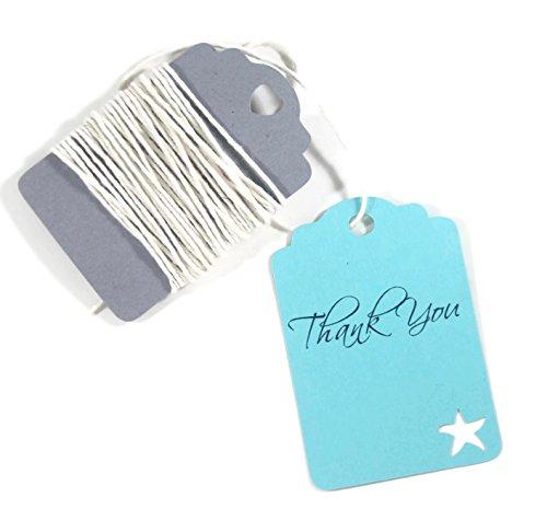 Starfish Tag - Aqua Starfish Tags - Under the Sea Thank You Labels - Bridal Shower (Set of 20)