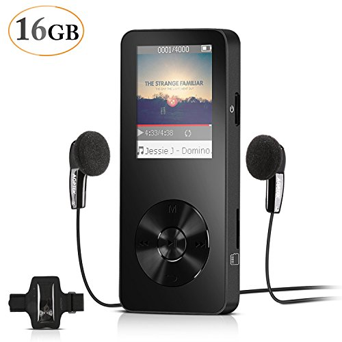 AGPtEK 16GB Portable MP3 Player(Expandable Up to 128GB), Music Player/Voice Recorder/FM Radio with HD Headphone and Adjustable Sport Armband, M28, Black