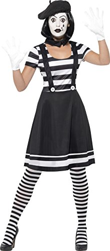 [Smiffy's Women's Lady Mime Artist Costume, Dress, Collar, Beret, Gloves, Tights and Make-Up, Funny Side, Serious Fun, Size 6-8,] (Artist Costumes Halloween 2016)