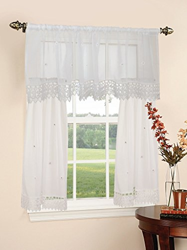 Violet Linen Daisy Design Sheer 3 Piece Kitchen Curtain Set, 18