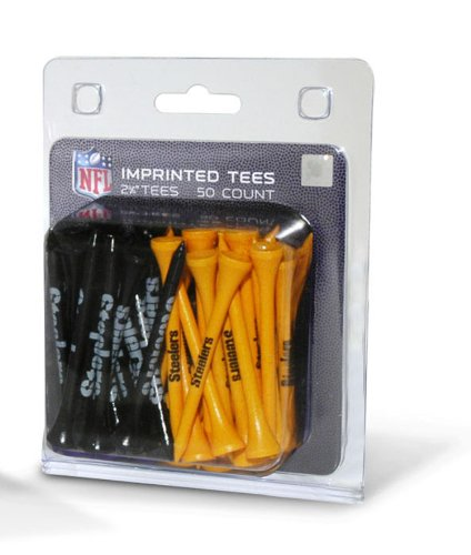 "Team Golf NFL Pittsburgh Steelers 2-3/4"" Golf Tees, 50 Pack, Regulation Size, Multi Team Colors -  637556324559"