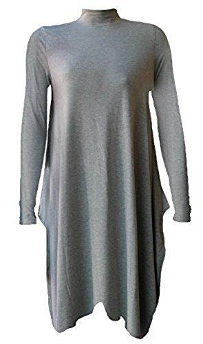 Fashion 4 Less - Vestido corto para mujer con cuello alto (tallas: 36-42) gris