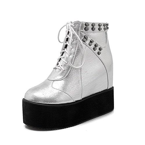 Allhqfashion Women's High-Heels Soft Material Low-top Solid Zipper Boots Silver lTTOLqEmn