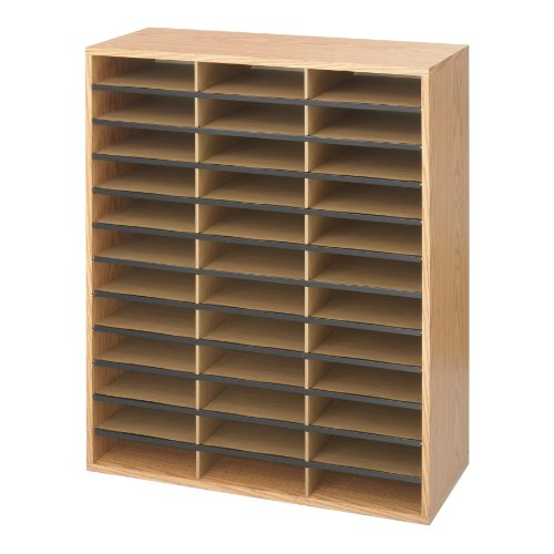 Safco Products 9403MO Literature Organizer Wood/Corrugated, 36 Compartment, Medium - Oak Top Table Medium