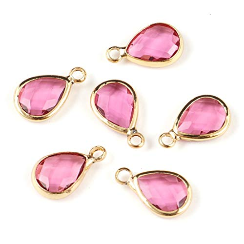 (10pcs July Ruby Birthstone Charms 11x7mm Teardrop Crystal Beads Gold Plated Brass for Jewelry Craft Making CCP14-7)