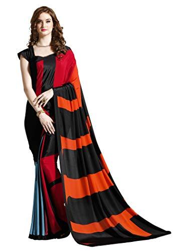 (Jaanvi fashion Women's Crepe Printed Saree (Gray))