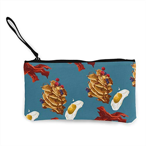 Oomato Canvas Coin Purse Breakfast Time Cosmetic Makeup Storage Wallet Clutch Purse Pencil Bag