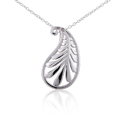 Sterling Silver Rhodium Plated Diamond Accent Leaves Design Pendant Necklace, (Leaf Design Diamond)
