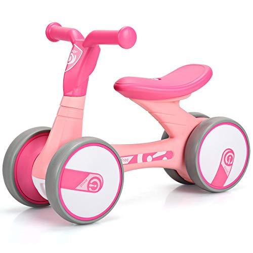 (Costzon Baby Balance Bikes, Mini Bike Bicycle, Children Walker Toys Rides for 18 Months No Pedal Infant 4 Wheels Toddler Bike (Pink))
