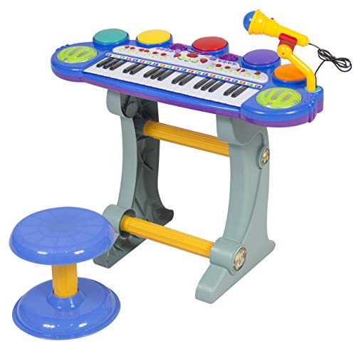 Best Choice Products 37-Key Kids Electronic Musical Instrument Piano Toy Keyboard w/ Record and Playback, Microphone, Synthesizer, Stool - Blue (Microphone Electronic)