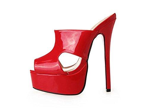 HeiSiMei Sandali delle donne / scarpe sexy / tacco a spillo / bocca dei pesci / Spesso impermeabile piattaforma / Party & Sera / Nightclub / Uomo / Unisex , Flower , EU48 RED-EU45