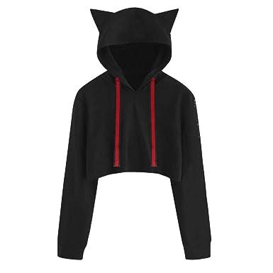 Sunhusing Women Long Sleeve Cat Ear Hooded Pullover Solid Color Short Drawstring Sweatshirt