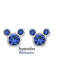 BirthStone Mickey Mouse Stud Earrings In 14k White Gold Over Sterling Silver