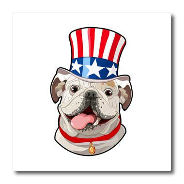 86622a186f6 Amazon.com  3dRose Patriotic American Dogs - English Bulldog Wearing ...