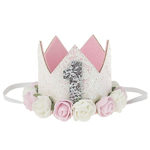 Stock Show 1st Pet Birthday Crown Hat Mini Dogs Cats Cute Holiday Party Hat Costume with Flowers Accessories and Adjustable Headband for Small Medium Dogs Cats Pets Baby, Pink&White in Sliver