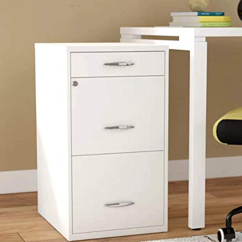 Heavy Duty Rolling Mobile Storage Filing Cabinet w/ 3 Drawers Steel Filing Cabinet Living Room, White Metal Contemporary Drawer Chest & E-Book