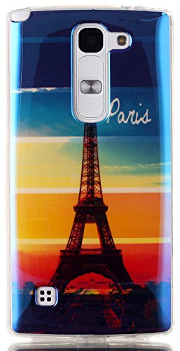 LG C70 Case AIYZE New Cool Blue Light Soft TPU Protective Back Case with Silicone Mobile Phone Stand Fits LG H440 Spirit LTE 4G US550 Escape 2 Logos(Paris Eiffel Iron (Spirit Phone)