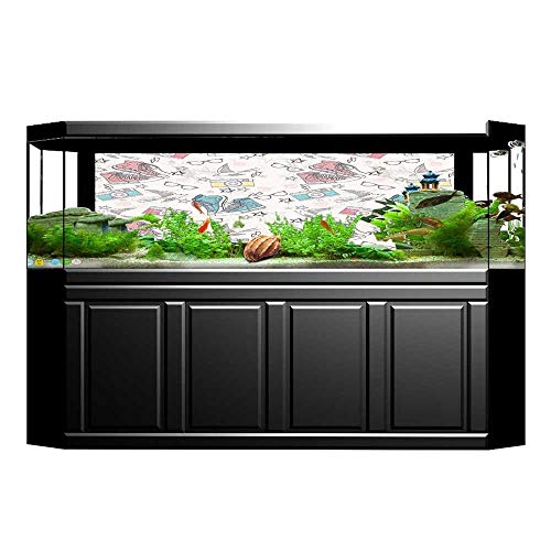 Jiahong Pan Decorative Aquarium Background Poster Shoes Camera Glasses Stars Thunders Birds for and Teenagers Aquarium Sticker Wallpaper Decoration L35.4 x H19.6 ()