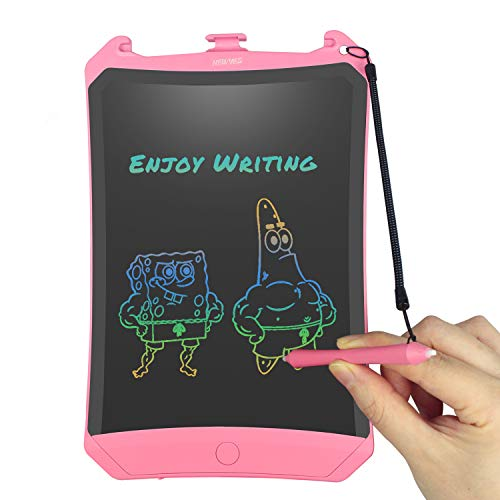 Colorful Robot Pad 8.5'' LCD Writing Tablet Doodle and Scribble Board Magnetic Memo Notes with 1 Anti-Lost String for Adult Kid and Toddler (Pink)
