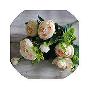 Awesome-experience 6 Branches Vivid Fake Peony Flower Silk Flower Autumn Artificial Flowers Wedding Home Party Decoration,4 42