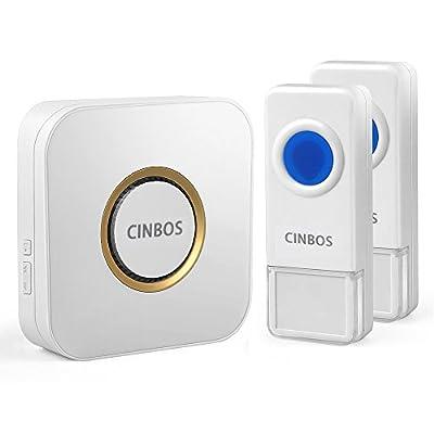 Cinbos Model B9 Wireless Doorbell, 1000 Feet Operating, LED Indicator, 52 chimes, 4 Level Volume