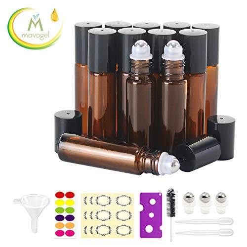 12, 10ml Essential Oils Roller Bottles - Amber, Glass with Stainless Steel Roller Balls by Mavogel (3 Extra Roller Balls, 30 Pieces Labels, Opener, Funnel, Dropper, Brush Included)