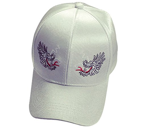 Unisex Fashionable Satin Baseball Cap Double Dragons Embroidered Dad Hat White (FBA) (White Satin Top Hat)
