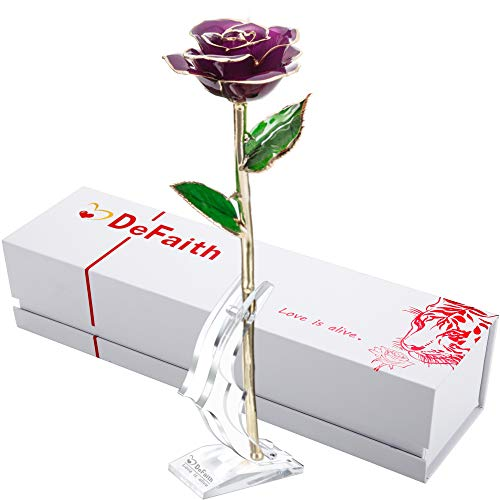 DEFAITH Real Rose 24K Gold Dipped, Forever Gifts for Her Valentine's Day Anniversary Wedding and Proposal - Purple with Stand