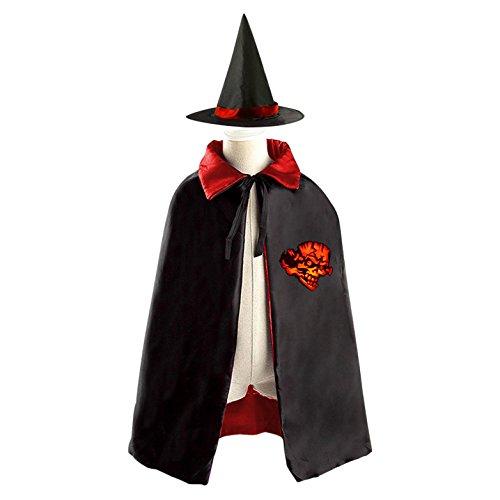 Mischievous Halloween Fancy Dress Ferocious Fire Mock Man Wizard Cap And Cloak For Child