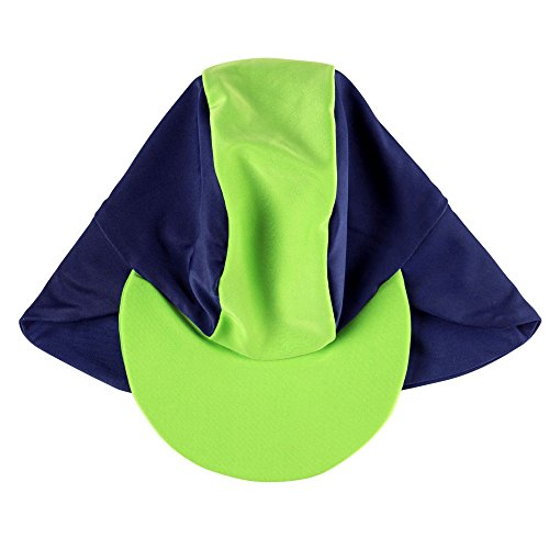 - Rashoodz Swim and Sun Baby Hat Sun Protection Brim Hat Navy Green Small 3-12 Mth