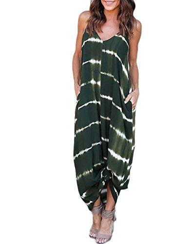 - FLORHO Women's Summer Tie Dye Sling Dress Casual Sleeveless Maxi Dresses Spaghetti Sundress for Beach Party Army Green S