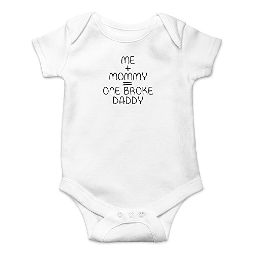 - Crazy Bros Tees Me + Mommy = One Broke Daddy Funny Cute Novelty Infant One-Piece Baby Bodysuit (12 Months, White)