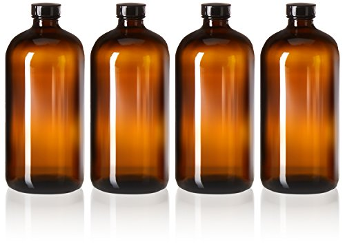 4 Pack - 32oz Kombucha Bottles - Boston Round Amber Glass Growler Kombucha Bottles- with Phenolic Poly Cone Insert Caps - Tight Seal for Secondary Kombucha ()